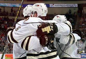 Hershey Bears in a victory embrace