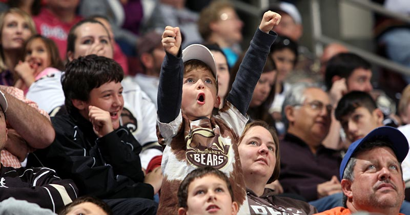 Eager young Hershey Bears fan