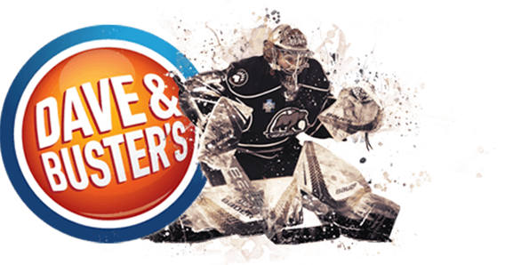 Bear's goalie and Dave and Buster's Logo