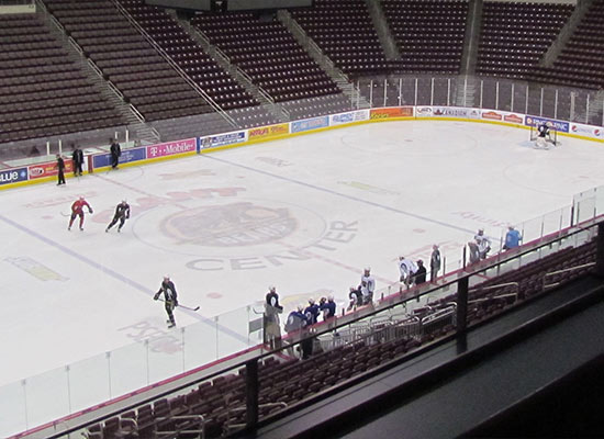 Hershey Bears practicing on the ice